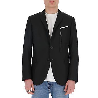 Neil Barrett Pbgi673yn02501 Hombres's Blazer de Poliéster Negro