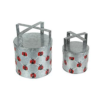 Set of 2 Galvanized Metal Planters With Stands Rustic Ladybug Flower Pot Decor