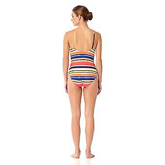 Anne Cole Women's Multi Stripe V Neck Sexy One Piece Swimsuit,, Multi, Size 10.0