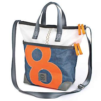 360 Degree Deern Mini Shoulder Bag White with Number Neon Orange Canvas Bag