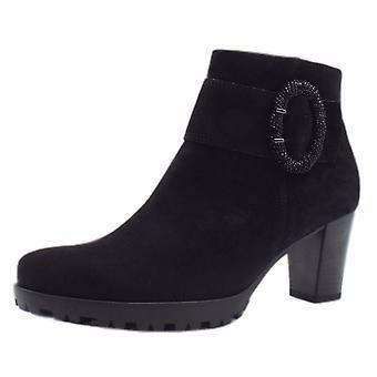 غابور ويني الحديثة الرياضية منتصف كعب الكاحل الأحذية في جلد الغزال الأسود