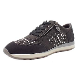 Jana 23612 Bargur Wide Fit Smart-casual Trainer Shoes In Graphite