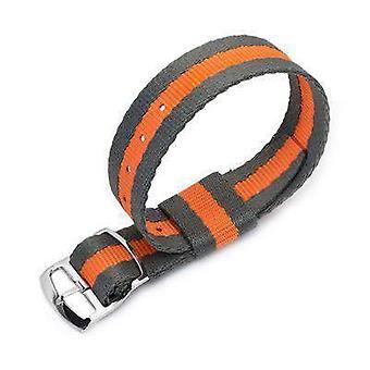 Strapcode n.a.t.o katsella hihna 20mm miltat raf n7 nato katsella hihna, harmaa ja oranssi, kiillotettu tikkaat lukko liukusäädintä solki