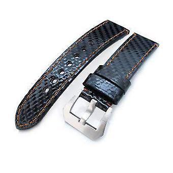 Strapcode carbon fibre watch strap 22mm miltat glossy genuine carbon fiber watch band, orange stitching, xl