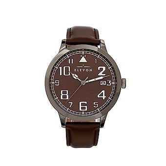 Elevon Sabre Leather-Band Watch w/Date - Gunmetal/Goldenrod/Brown