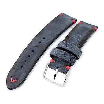 Strapcode calf leather watch strap 20mm, 21mm, 22mm miltat dark grey genuine nubuck leather watch strap, red stitching, polished buckle