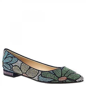 Leonardo Shoes Women-apos;s plataux de ballet faits à la main strass motif floral