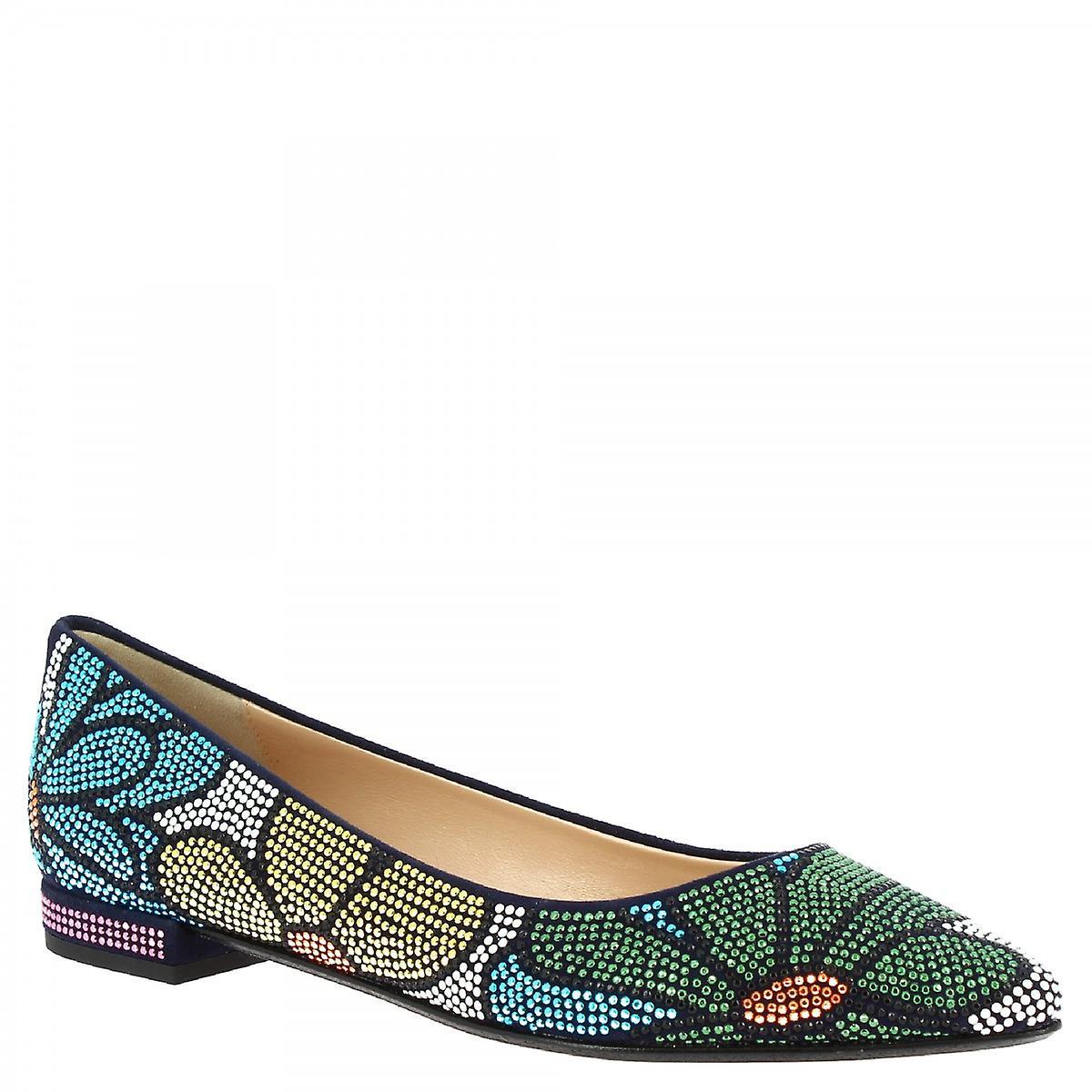 Leonardo Shoes Women's handmade ballet flats multicolored strass floral pattern BgxFg