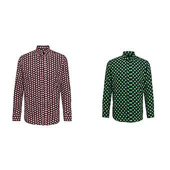 Christmas Shop Mens lång ärm jultomten/Sprout mönstrad skjorta