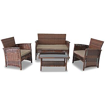 Modern Home Del Mar Woven Wicker 4pc Patio Set - Outdoor Rattan Conversation Set with Cushions