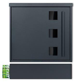 MOCAVI Box 103G ZF 1 7016 Letterbox incl. fenêtre d'observation anthracite-gris (RAL 7016) avec compartiment de journal peut être installé séparément