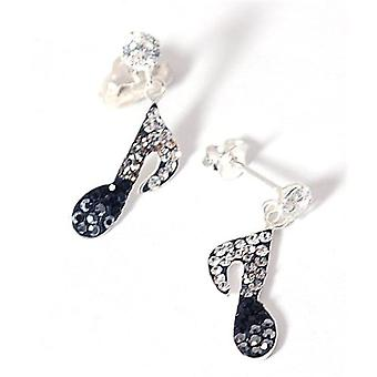The Olivia Collection Sterling Silver Black Crystal Music Note Drop Earrings
