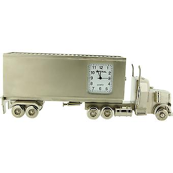 GTP - IMP1072S Miniature Container Lorry Silver Tone Novelty Desktop Collectors Clock - 14.5cm x 5.6cm x 3cm.