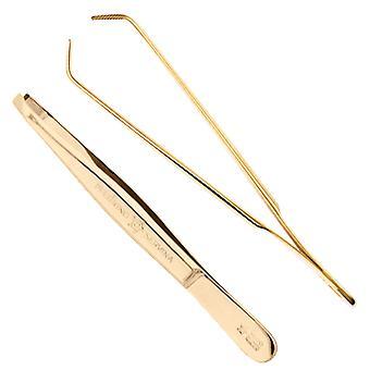 Arrow ring eyebrow tweezers golden 9 cm long