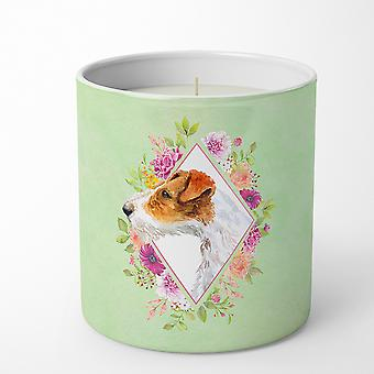 Jack Russell Terrier #2 Green Flowers 10 oz Decorative Soy Candle
