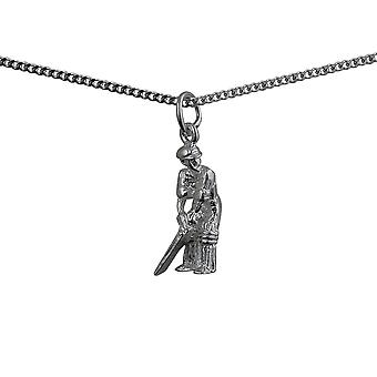 Silver 18x9mm Cricketer Pendant with a curb Chain 24 inches