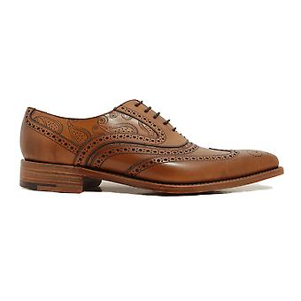 Barker McClean Antique Rosewood Calf Leather Mens Oxford Lace Chaussures
