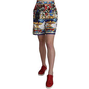 Dolce & Gabbana Multicolor Print Silk City Majolica Shorts -- SKI1591536
