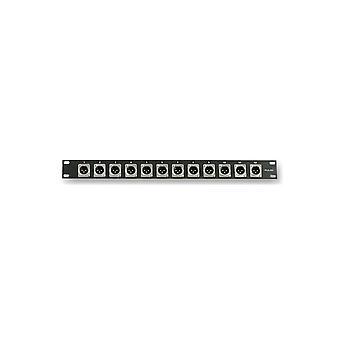 Pulse Pls00022 1u Rack Panel met 12 X Xlr-paneelstekkers