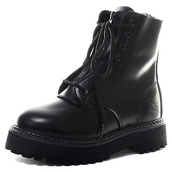 Grinders Zip and Lace Black Womens Non Steel Toe Boots