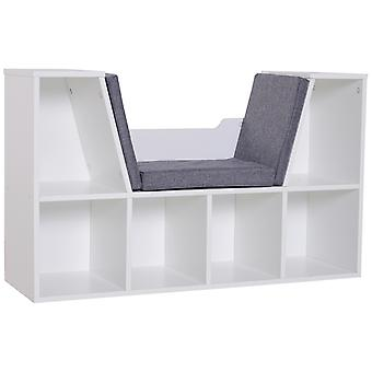 HOMCOM Sideboard Bookcase Storage Reading Seat w/ Cushion Unit Kids Children Cubes Organiser Living Room Bedroom White