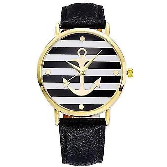 Ahoy! anchor watch in black and white stripes for woman