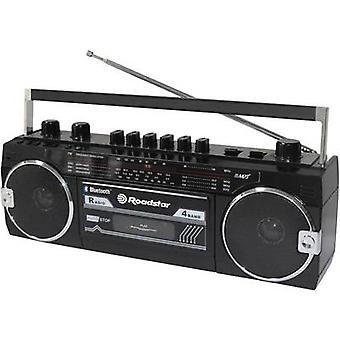 Roadstar Radio kassetteafspiller Bluetooth, Tape, SD, USB-optagelse tilstand, Materielle tastatur Sort