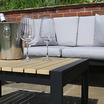 Charles Bentley Black Square Legs Strong Extrusion Aluminium Lounge Set with 10cm Thick Cushion Polyester Industrial Style