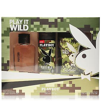 Playboy Mens Play It Wild Eau De Toilette 3 Peça Set