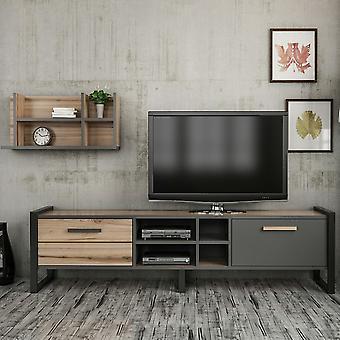 Mobil tv-dør Leno Color Walnut, Anthrather, Sort i Melaminic Chip, Metal 72x2x32 cm, 184x39x45 cm