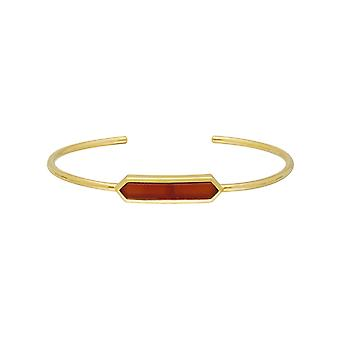 Geometric Prism Dyed Red Carnelian Bangle in Gold Plated Sterling Silver 270B009605925