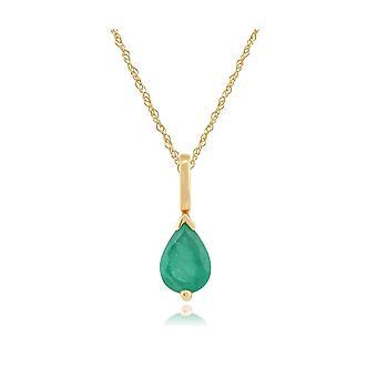 Classic Päärynä Emerald riipus kaulakoru 9ct Keltainen Kulta 27021