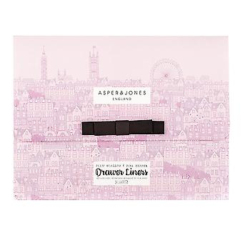 Asper & Jones Drawer Liners 6 Sheets - Plum Blossom & Pink Pepper