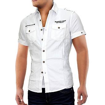 Herren Kurzarm Cargo Brusttasche Vintage Polo Hemd Shirt Herrenhemd Camel VIP