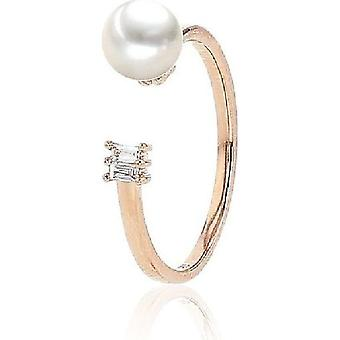 Luna-Pearls Bead Ring Akoyaperle 6-6.5 mm 585 Rosegold 2 Diamonds 0.05 ct. Ring size 56 (17.8mm) 3001182-004