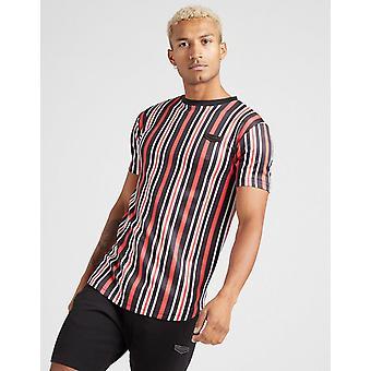 New Supply & Demand Men's Pinstripe Short Sleeve T-Shirt Red