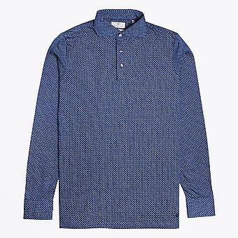 Thomas Maine  - Geometric Polo Shirt - Navy
