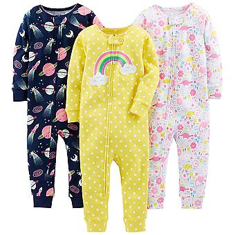Simple Joys by Carter's Baby Girls' 3-Pack Snug Fit Footless Cotton Pajamas, ...