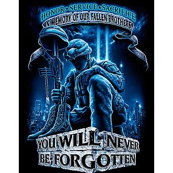 Never Be Forgotten Armed Forces USA Black Long Sleeve TShirt