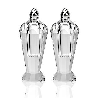 Mouth Blown Crystal Silver Pair of Salt & Pepper Shakers