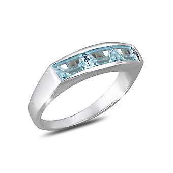 ADEN 925 Sterling Silver Topaz Ring (id 4370)