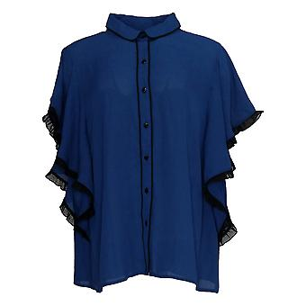 Laurie Felt Women's Top Button Front W/Butterfly Sleeves Blue A352662