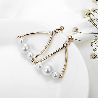 Gold Geometric Triangle Pearl Drop Earring