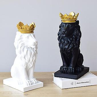 Lion Faith Resin Sculpture Model Crafts Ornament - Crown Lion Statue Home,