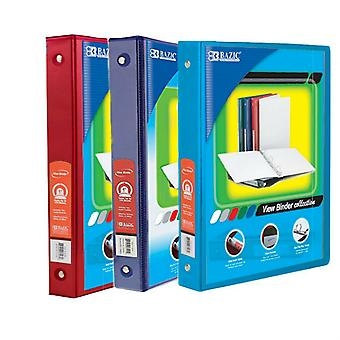Combo59, BAZIC 1 Inch 3-Ring View Binder with 2-Pockets (Case pack of 36 consist 12-Red, 12-Blue & 12-Cyan)