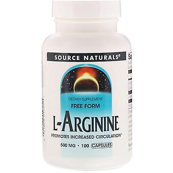 Fuente Naturales, L-arginina, Forma libre, 500 mg, 100 Cápsulas