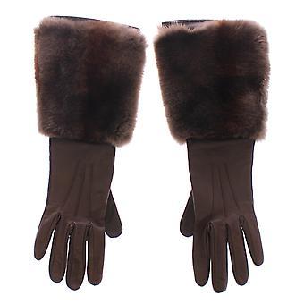 Dolce & Gabbana braun Kaninchen Pelz Lammfell Leder Handschuhe Seide MOM11433-2
