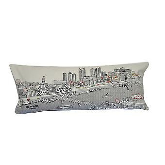 Spura Home Nashville Printed Skyline Embroidered Wool Cushion Day/Night Setting