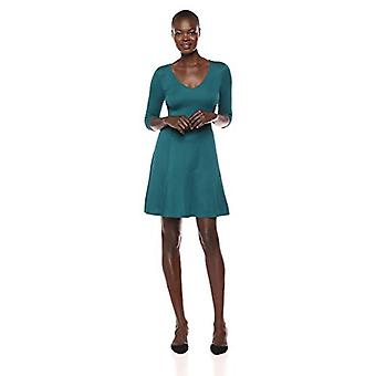 Brand - Lark & Ro Women's Three Quarter Sleeve V-Neck Fit and Flare Dress, Spruce Green, Medium