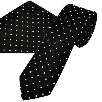 Ties Planet Gold Label Black & White Polka Dot Men's Silk Skinny Tie & Pocket Square Set
